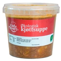 Økologisk kjøttsuppe av storfe